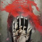 "Hand2.8, Etching, Spray and Oil on Zinc plate,12""X18"""
